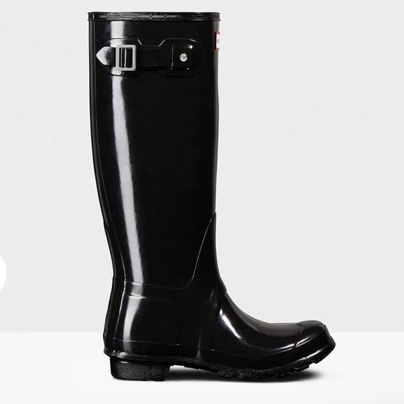 Hunter Shoes - Women's Tall Glossy Black Hunter Boots
